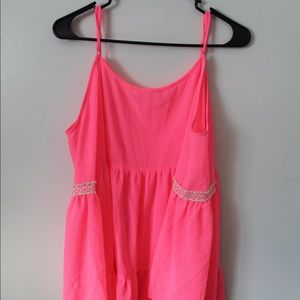 Pink shear open shoulders top